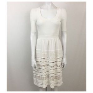 Paule Ka Paris White Ribbed A-line Dress Size S
